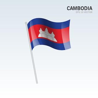 Cambodge, agitant le drapeau isolé sur fond gris