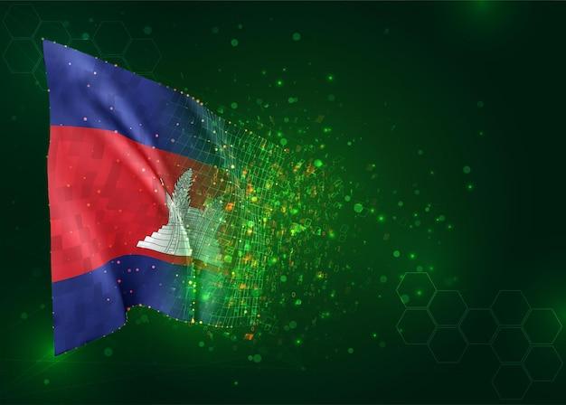 Cambodge, drapeau 3d sur fond vert avec des polygones
