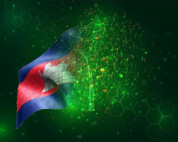 Cambodge, drapeau 3d vectoriel sur fond vert avec des polygones et des numéros de données