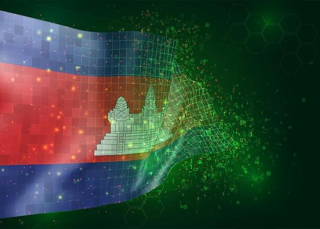 Cambodge, sur le drapeau 3d vectoriel sur fond vert avec des polygones et des numéros de données