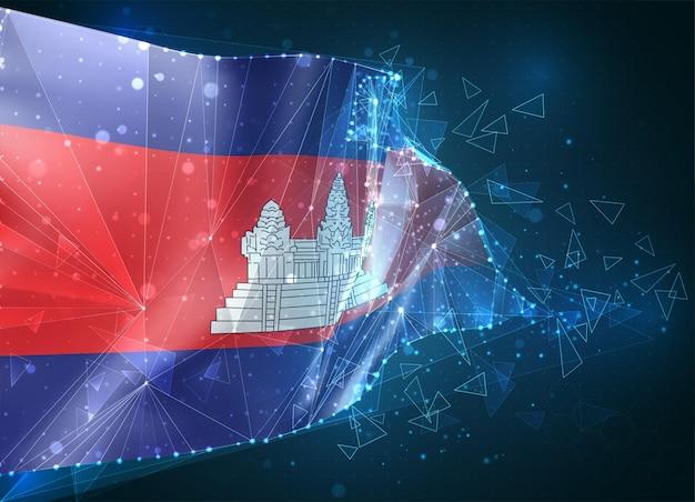 Cambodge, drapeau, objet 3d abstrait virtuel de polygones triangulaires sur fond bleu