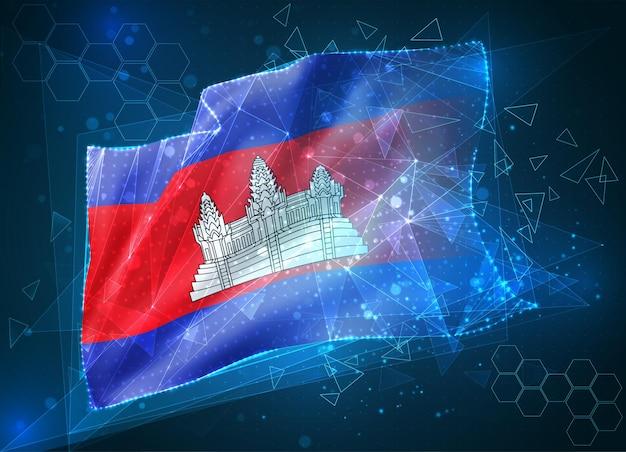 Cambodge, drapeau vectoriel, objet 3d abstrait virtuel à partir de polygones triangulaires sur fond bleu