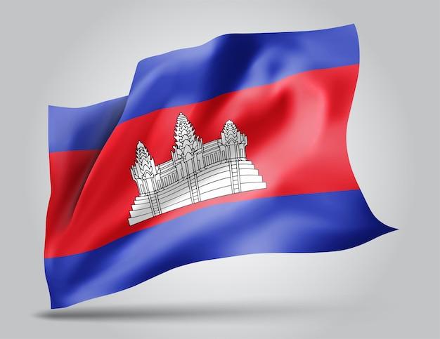 Cambodge, drapeau vectoriel avec des vagues et des virages ondulant dans le vent sur fond blanc.