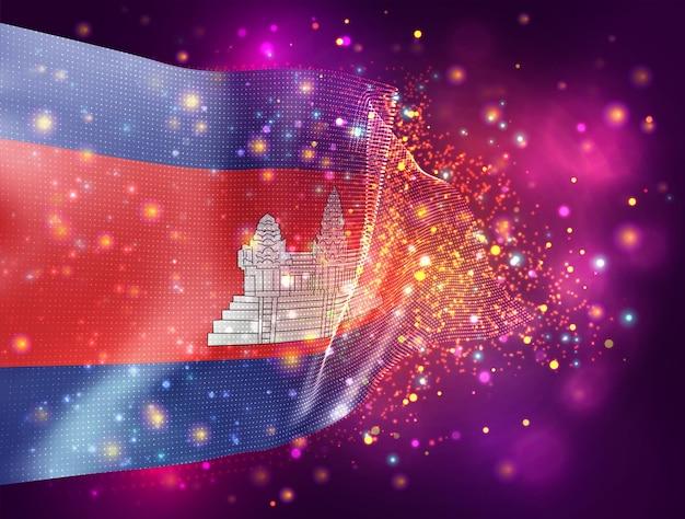 Cambodge, vecteur drapeau 3d sur fond violet rose avec éclairage et fusées éclairantes