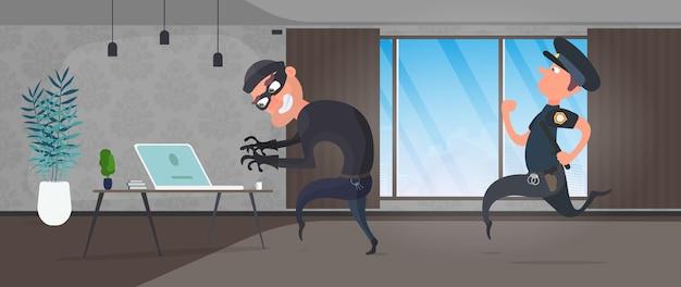 Un cambrioleur vole un ordinateur portable dans la maison. un policier arrête un voleur. concept de sécurité, protection des données personnelles. vecteur.