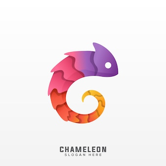 Caméléon logo dégradé coloré