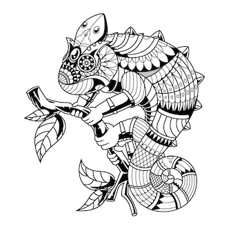 Caméléon mandala zentangle style linéaire