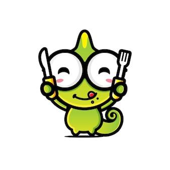 Un caméléon mignon s'apprête à manger