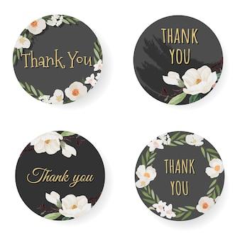 Camélia blanc et fleur de magnolia blanc merci autocollant pour la collection de modèles de logo