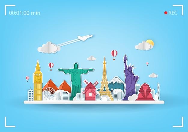 Caméra et avion voyagent à travers le monde.