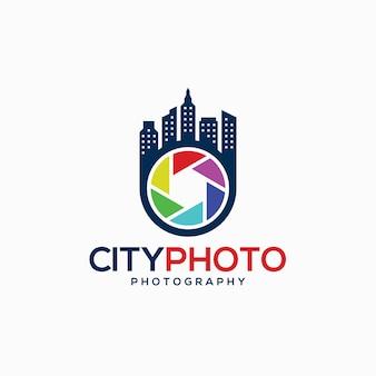 Camera logo - modèle de logo de photographie de ville