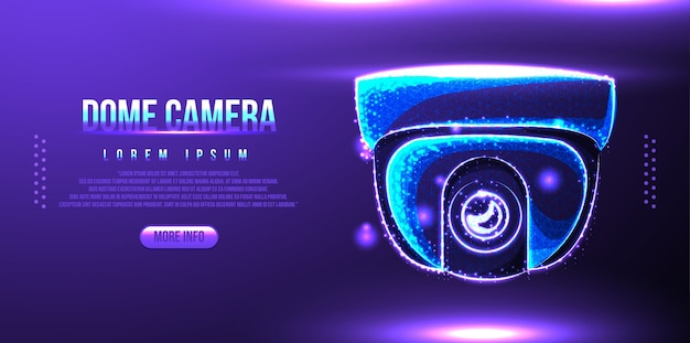 Caméra de sécurité dôme, conception filaire low poly