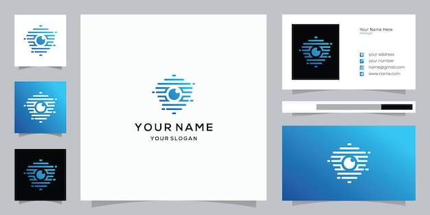 Camera shield logo et modèle de carte de visite