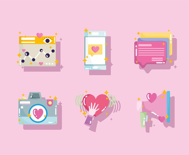 Caméra de site web de médias sociaux comme icônes de bulle de discours de téléphone en illustration de style dessin animé