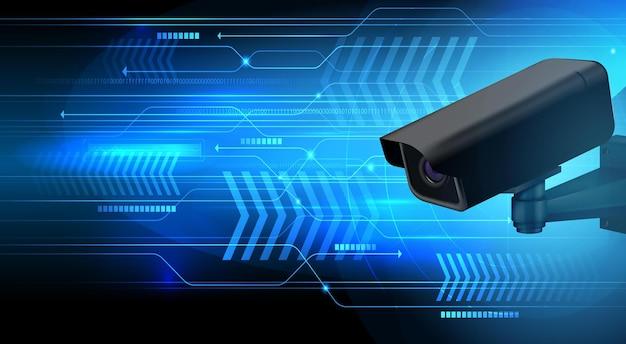 Caméra de surveillance sur illustration futuriste