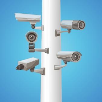 Caméra de surveillance sur pilier
