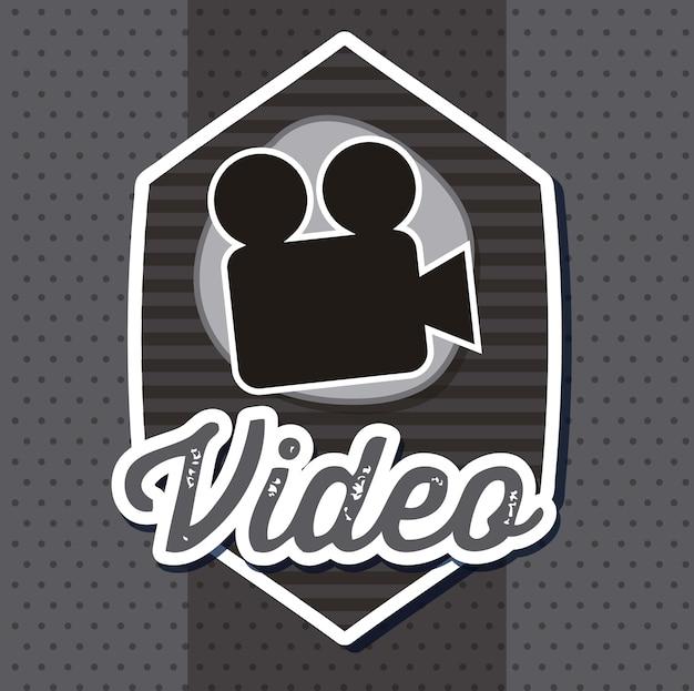 Caméra vidéo sur illustration vectorielle fond gris