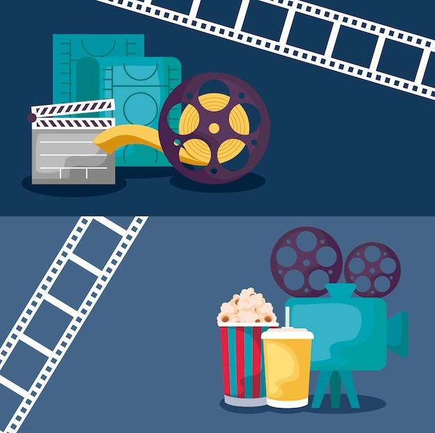 Caméra vidéo avec set d'icônes cinéma