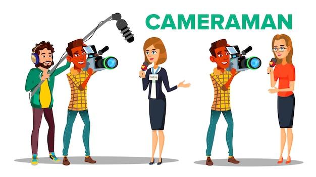 Caméraman filmer journaliste interview personnage de dessin animé