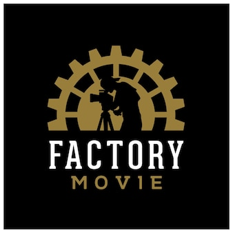 Caméraman d'usine de roue dentée d'engrenage pour la conception de logo de studio de production de cinéma de film