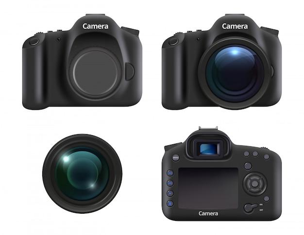 Caméras digitales. appareil photo reflex numérique réaliste pour les photographes avec objectif et équipement professionnel réaliste