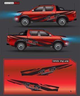 Camion 4 roues motrices et graphique de voiture. lignes abstraites avec un fond noir pour l'enveloppe de vinyle de véhicule