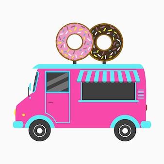 Camion beignet fast food bakery van avec enseigne en forme de deux beignets savoureux