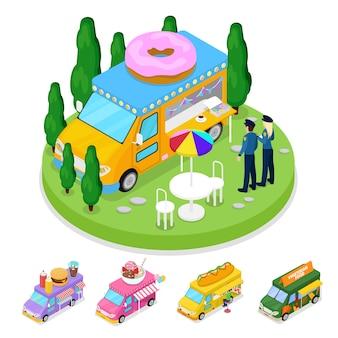 Camion de beignets de nourriture de rue isométrique avec des gens