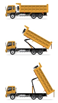 Camion à benne basculante en action