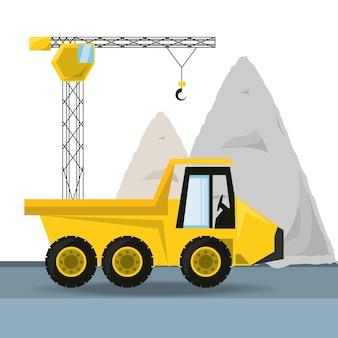 Camion à benne basculante sous le concept de construction