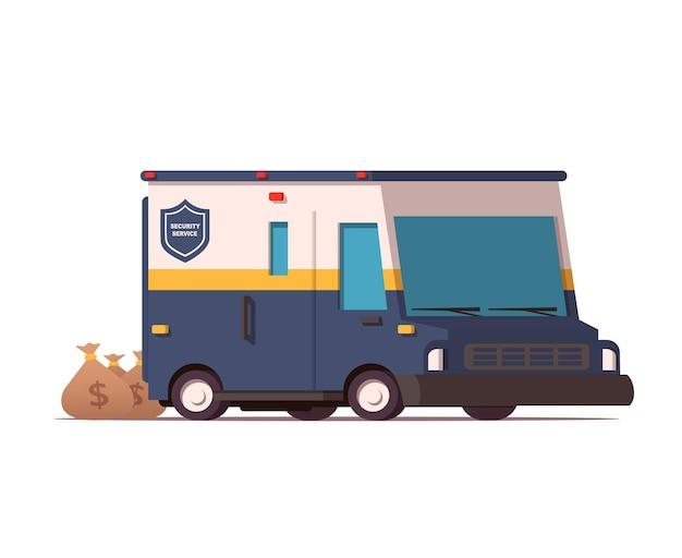 Camion blindé de sécurité avec des sacs d & # 39; argent illustration