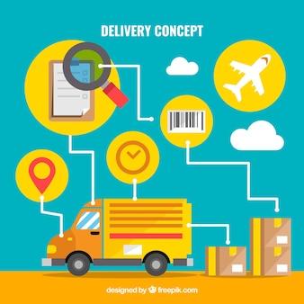 Camion et boîtes avec icônes de livraison