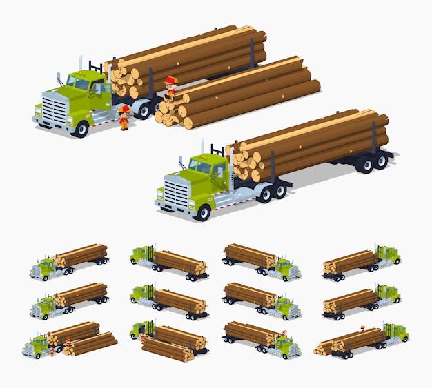 Camion à bûches isométrique 3d lowpoly avec la pile de bûches