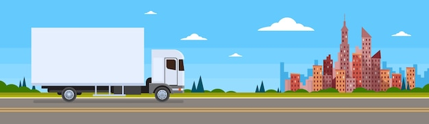 Camion camion voiture sur route fret expédition bannière de livraison
