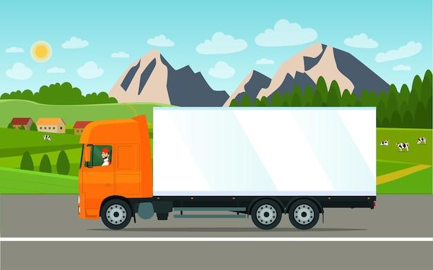Camion cargo avec chauffeur sur fond de paysage. illustration vectorielle.