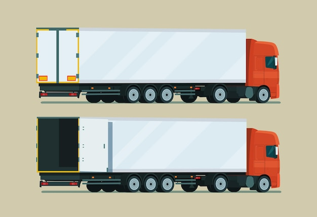 Camion cargo avec remorque à deux angles