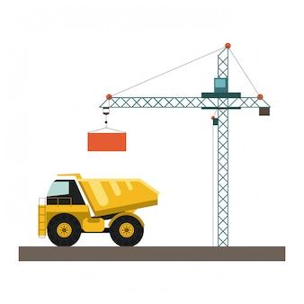 Camion de chantier et grue