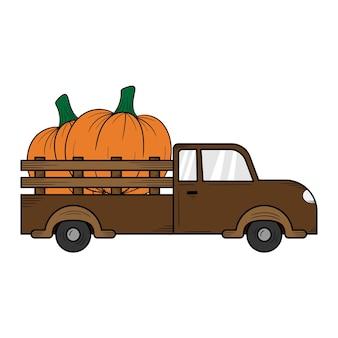 Camion citrouille dessinés à la main modèle de conception d'illustration isolé