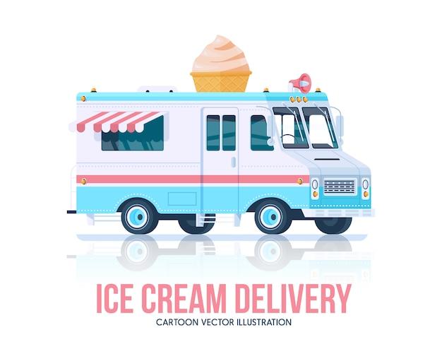 Camion de crème glacée. crème glacée vagon. service de livraison. illustration.