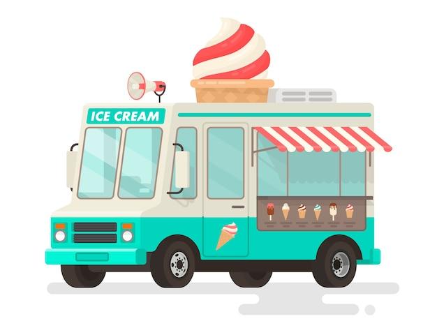 Camion de crème glacée sur fond blanc