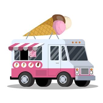 Camion de crème glacée. van avec des aliments sucrés. délicieux