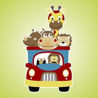 Camion avec dessin animé animaux mignons
