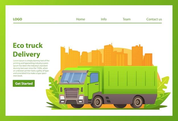 Camion écologique. voiture de service de livraison. gratte-ciel de la ville.