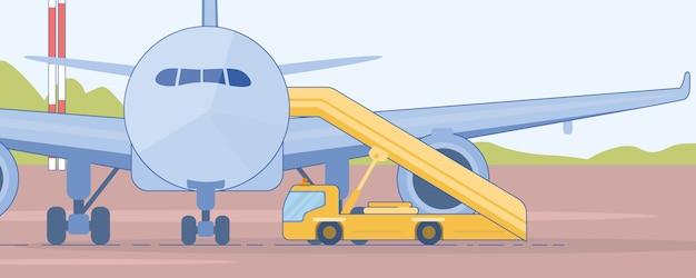 Camion d'escalier près de vecteur plat passagers avion de ligne