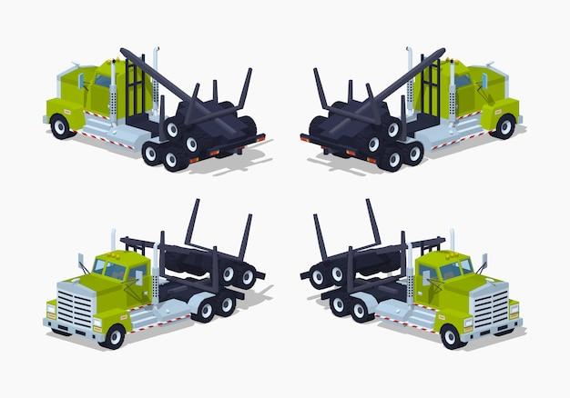 Camion à grumes isométrique plié 3d lowpoly