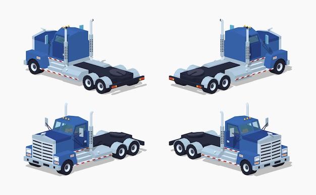 Camion isométrique bleu lourd 3d lowpoly