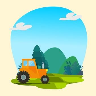 Camion jaune avec vecteur premium de fond nature