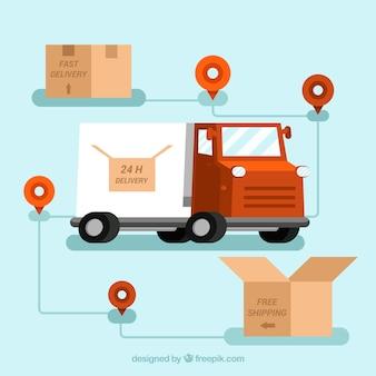 Camion de livraison, boîtes en carton et emplacements