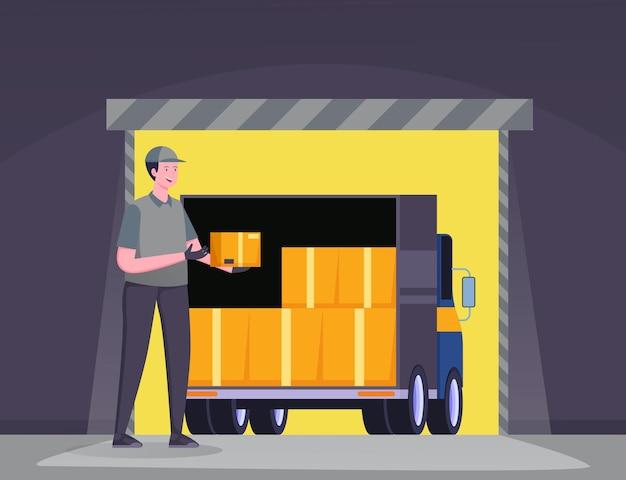 Camion de livraison dans le concept d'illustration d'entrepôt, livraison gratuite, service de livraison en ligne