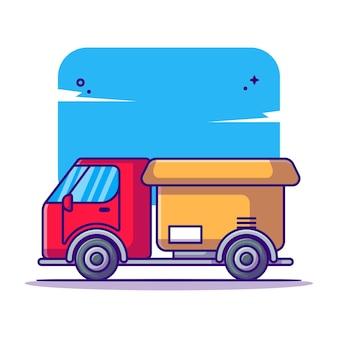 Camion de livraison avec dessin animé de boîtes de cargaison de colis